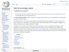 List Of Sovereign States: Wikipedia